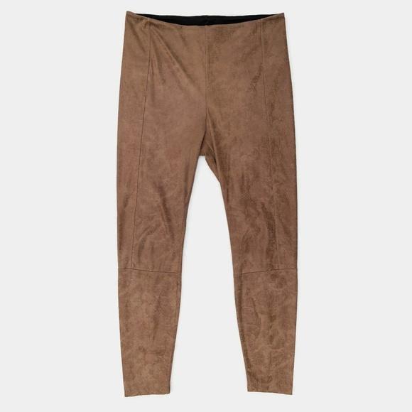 Lysse Pants - Lysse Buffed Faux Suede Leggings Saddle Brown M